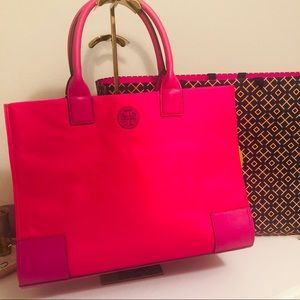 TORY BURCH ELLA TOTE BRIGHT PINK NWT JUST OUT!